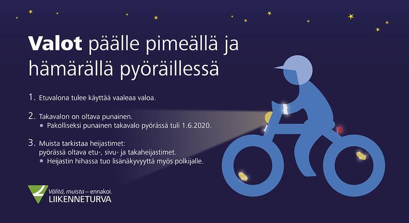 Grafiikka pyörän valoista. Pyörässä tai pyöräilijässä tulee olla punainen valo taakse ja vaalea valo eteen. Muista myös heijastimet eteen, taakse ja sivuille.